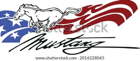 art illustration of mustang logo