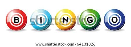 art illustration of set bingo balls isolated over white - stock vector