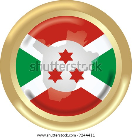 art illustration: round gold medal with map and flag of burundi