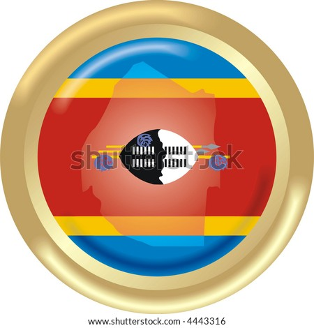 art illustration: round gold medal with map and flag of Swaziland