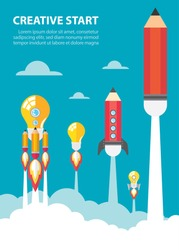 Art launch light bulb and pencil rocket with sky space. Creative start concept. Vector illustration. Flat design