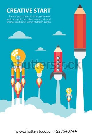 art launch light bulb and