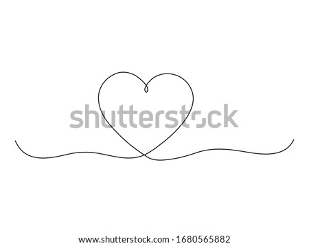 Art line continuous heart icon isolated on white. Love outline symbol, Valentine Day one line design