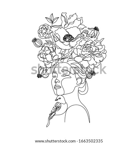 Art line flower head. Minimalist woman print. Black and white girl line drawing vector. Pretty woman natural face with flowersin line vector drawing. Portrait minimalistic style. Botanical print.