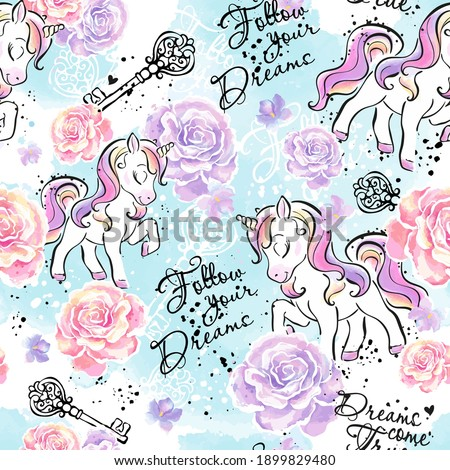 Art. Little unicorn. Fashionable ink and watercolor pattern for clothes or fabrics.