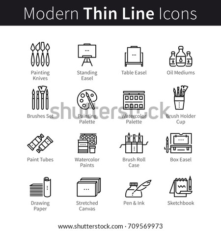 Art materials, artist supplies. Sketching, drawing and painting tools: studio equipment, brush, canvas, paper, paint medium pictogram concept. Modern thin line art icons. Linear style illustrations.