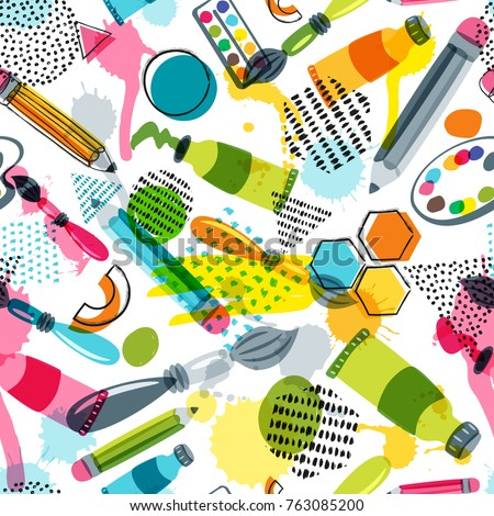Art materials for craft design and creativity. Vector doodle seamless pattern. Creative background with pencils, brushes, watercolor paints and other items for handmade activity. Сток-фото ©