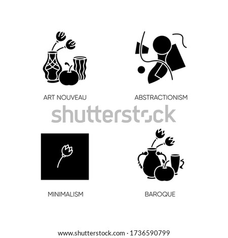 Art movements black glyph icons set on white space. Modern paintings exhibition. Art nouveau, abstractionism and minimalism styles. Silhouette symbols. Vector isolated illustration