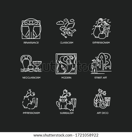 Art movements chalk white icons set on black background. Artworks in surrealism, neoclassicism styles. Impressionism, expressionism and classicism painting. Isolated vector chalkboard illustrations