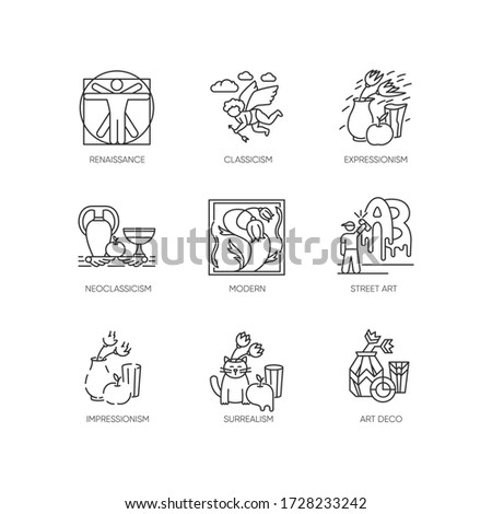 Art movements pixel perfect linear icons set. Artworks in surrealism, neoclassicism styles. Customizable thin line contour symbols. Isolated vector outline illustrations. Editable stroke