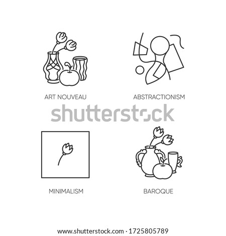 Art movements pixel perfect linear icons set. Modern paintings exhibition. Customizable thin line contour symbols. Isolated vector outline illustrations. Editable stroke
