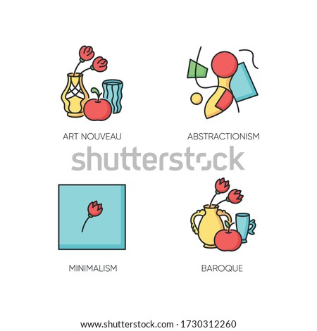 Art movements RGB color icons set. Modern paintings exhibition. Art nouveau, abstractionism and minimalism styles. Isolated vector illustrations