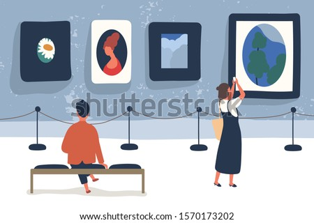 Art museum visitors flat vector illustration. Modern picture exhibition, painting exposition. Art lovers cartoon characters. Gallery hall interior. Cultural leisure, artwork admiring.
