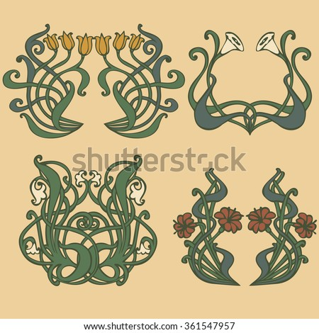art nouveau and art deco floral ornaments modern and. Black Bedroom Furniture Sets. Home Design Ideas
