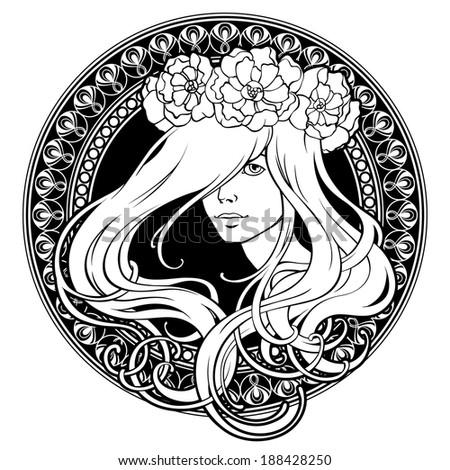 art nouveau girl in wreath