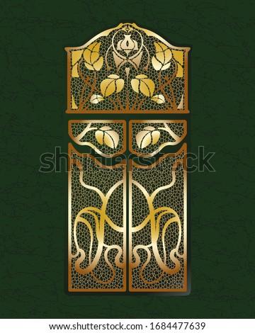 Art nouveau golden gates. Modern style door. Art deko interior and exterior part. Green marble background.  Stok fotoğraf ©