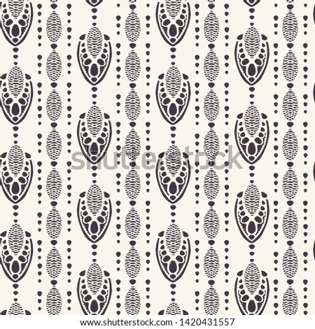 Art Nouveau ornamental motif Jugenstil style. Vector seamless pattern. Retro arabesque damask textiles swatch. Decorative arts crafts folk art home decor. Modernist trendy monochrome all over print.