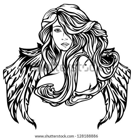 art nouveau style angel vector