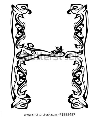 h letter in different style  Art Nouveau style vintage font
