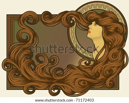 Art Nouveau styled woman's face with long detailed flowing hair ...