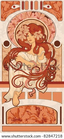 art nouveau styled woman with