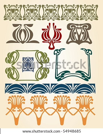 art nouveau symbols - stock vector