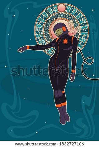 art nouveau woman astronaut in
