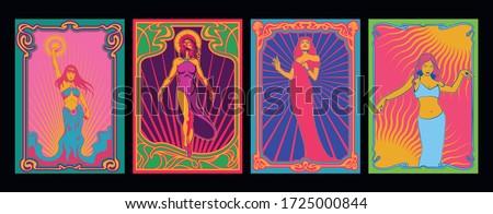 art nouveau women psychedelic
