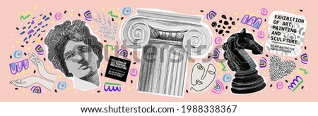Art objects for exhibition of painting, sculpture and music. Vector illustration of abstract background, roman column, greek sculpture, chess horse pattern for magazine or cover