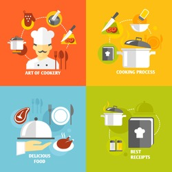 Art of cookery cooking process delicious food best recipes decorative icons set isolated vector illustration