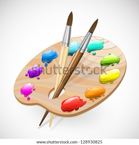 art palette with brushes and paints