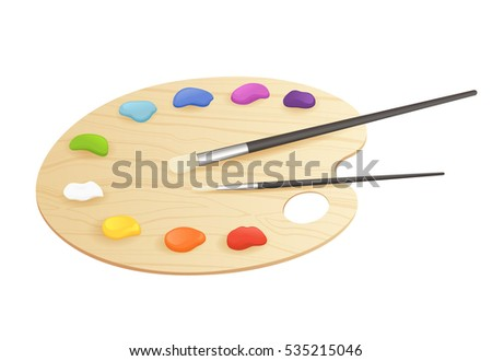 Art palette with paints and brushes isolated on white. Vector illustration