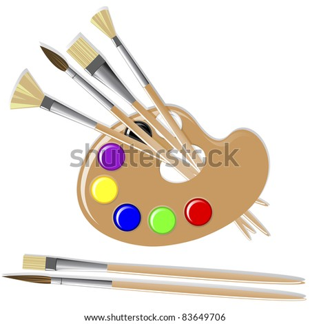 Art palette with paints and brushes. Vector.