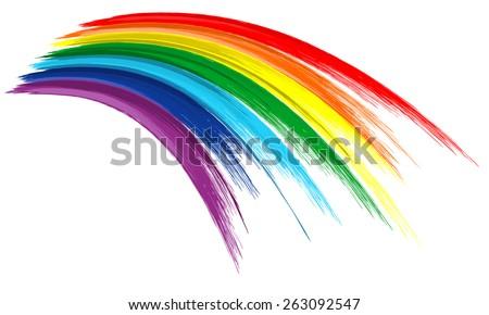Art rainbow color brush stroke paint draw background