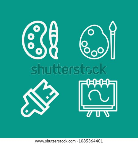 Art related set of 4 icons such as paint palette, canvas