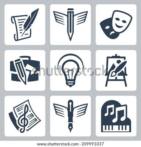 Art related vector icons set: pencraft, dramatics, portfolio, creative, painting, music-making