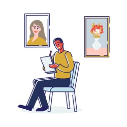 Art School Human Creativity And Talents. Male Character Painting Portrait At Art School Using Notebook And Pencil. Artist Paints Pictures In Album. Cartoon Linear Outline Flat Vector Illustration