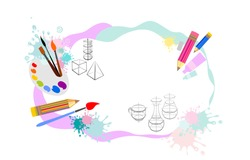 Art School. Kids art craft, education, creativity class concept. Vector horizontal banner or poster with white background, pencils, brushes, paints and place for your text. Template with artist tools.