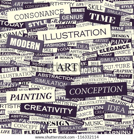 Art. Seamless word collage. Vector illustration.
