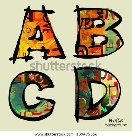 art set of stylized sketch alphabet in vector, rainbow font