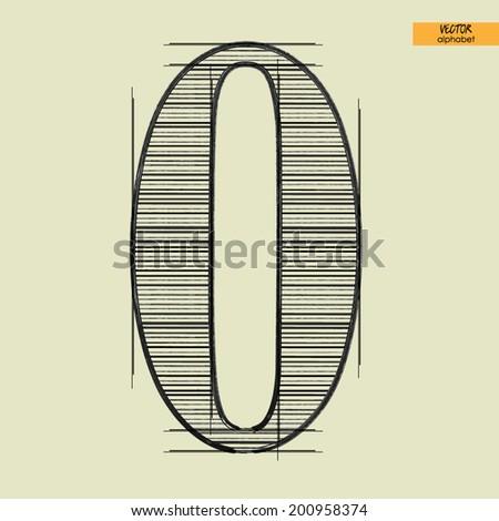 art simple alphabet in vector, classical black handmade font, figure 0