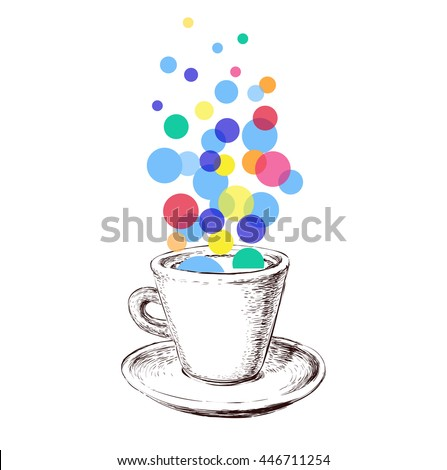 Art Sketch Coffee Cup Bubbles Hand Drawn Vector Illustration