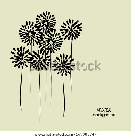 art sketched floral vector background with space for text