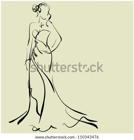 art sketching of beautiful young bride, sketchy vector with space for text. Raster version is also in my gallery.