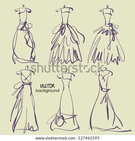 art sketching of vector set