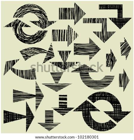 art sketching set of vector grunge arrows symbols - stock vector