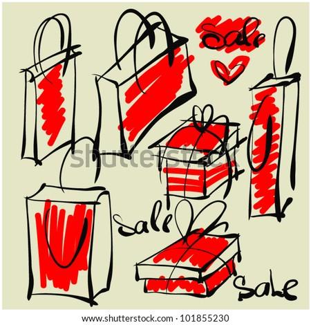 art sketching set of vector shopping bag symbols