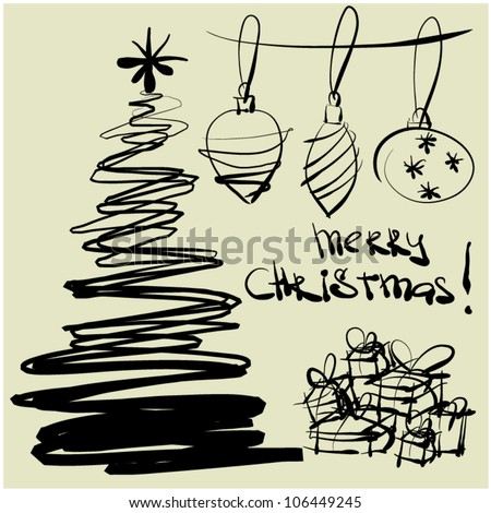 art sketching vector christmas tree and ball symbols