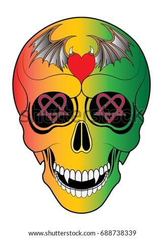 art skull vector hand drawing