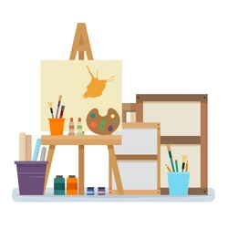 Art studio interior. Creative workshop room with canvas, paints, brushes, easel and pictures. Design salon for artists. Flat style vector illustration.